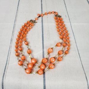 Vintage Pearly Orange Tri Strand Bead Necklace